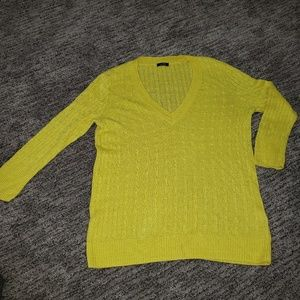 J Crew yellow cable knit lightweight sweater Sm